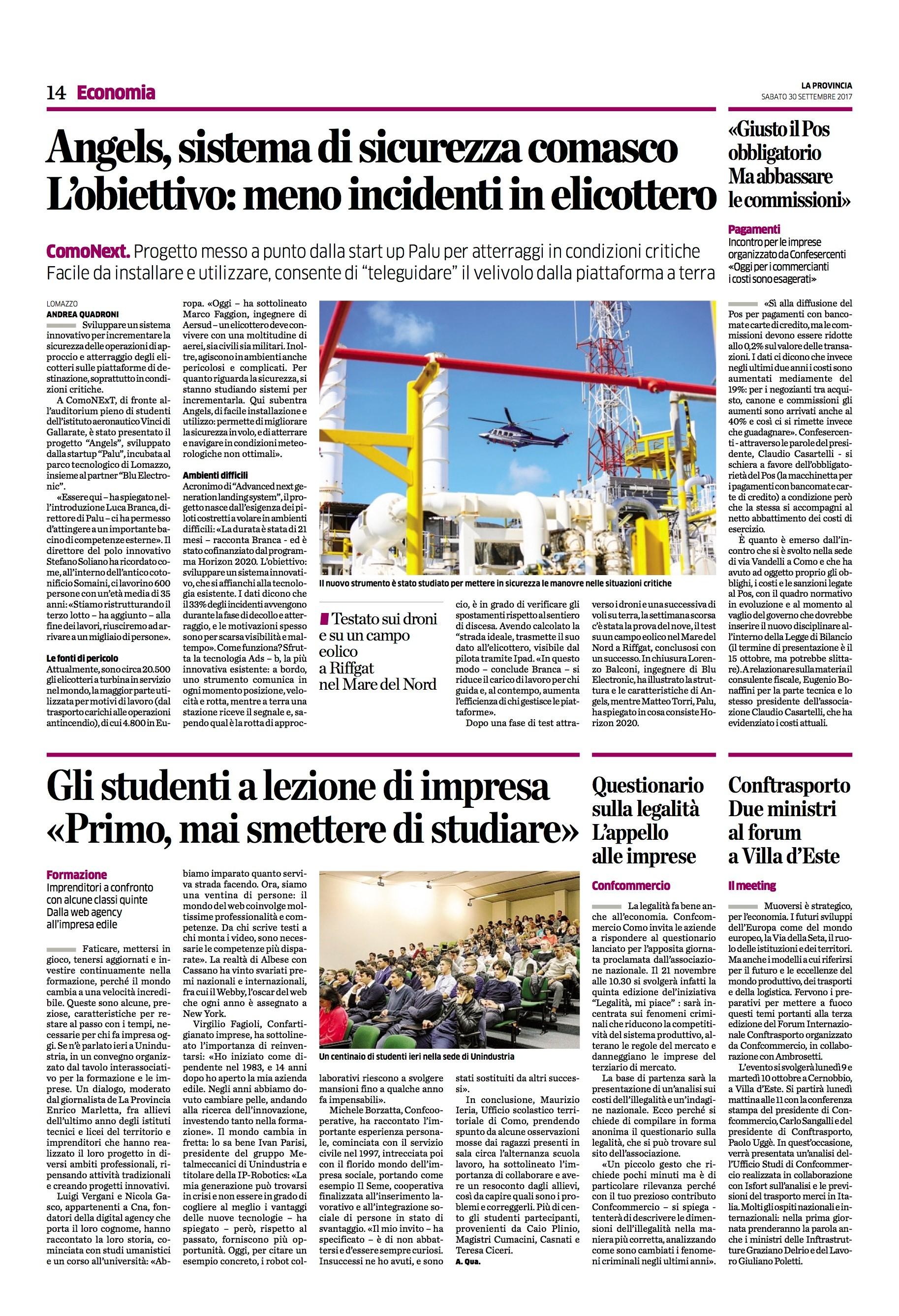 article on La Provincia di Como about ANGELS dissemination event