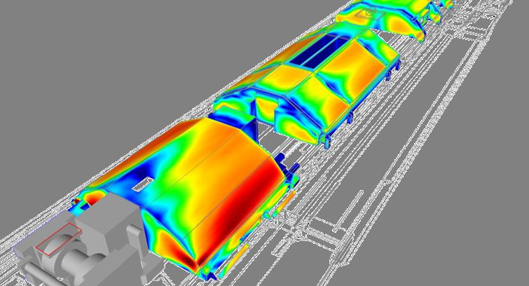 3D simulation on new Traction equipments cooling on the roof of the train