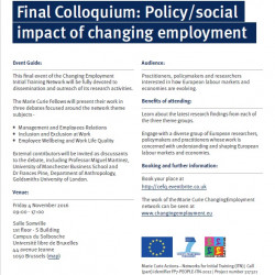 Changing Employment ITN Final Colloquium - Policy/ Social Impact of Changing Employment
