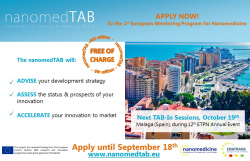 6th Round of applications for the NanomedTAB is open