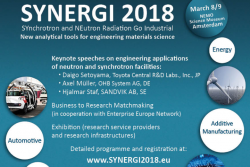 Register for SYNERGI 2018 - SYnchrotron and NEutron Radiation Go Industrial