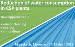 Reduction of water consumption in CSP plants –  new approaches in mirror cleaning, cooling & simulations
