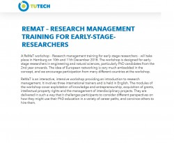 ReMaT - Research Management Training for Early-Stage-Researchers on 10 & 11th December 2018 in Hamburg